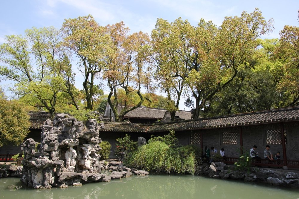 A pond in the middle of the Tianyige complex