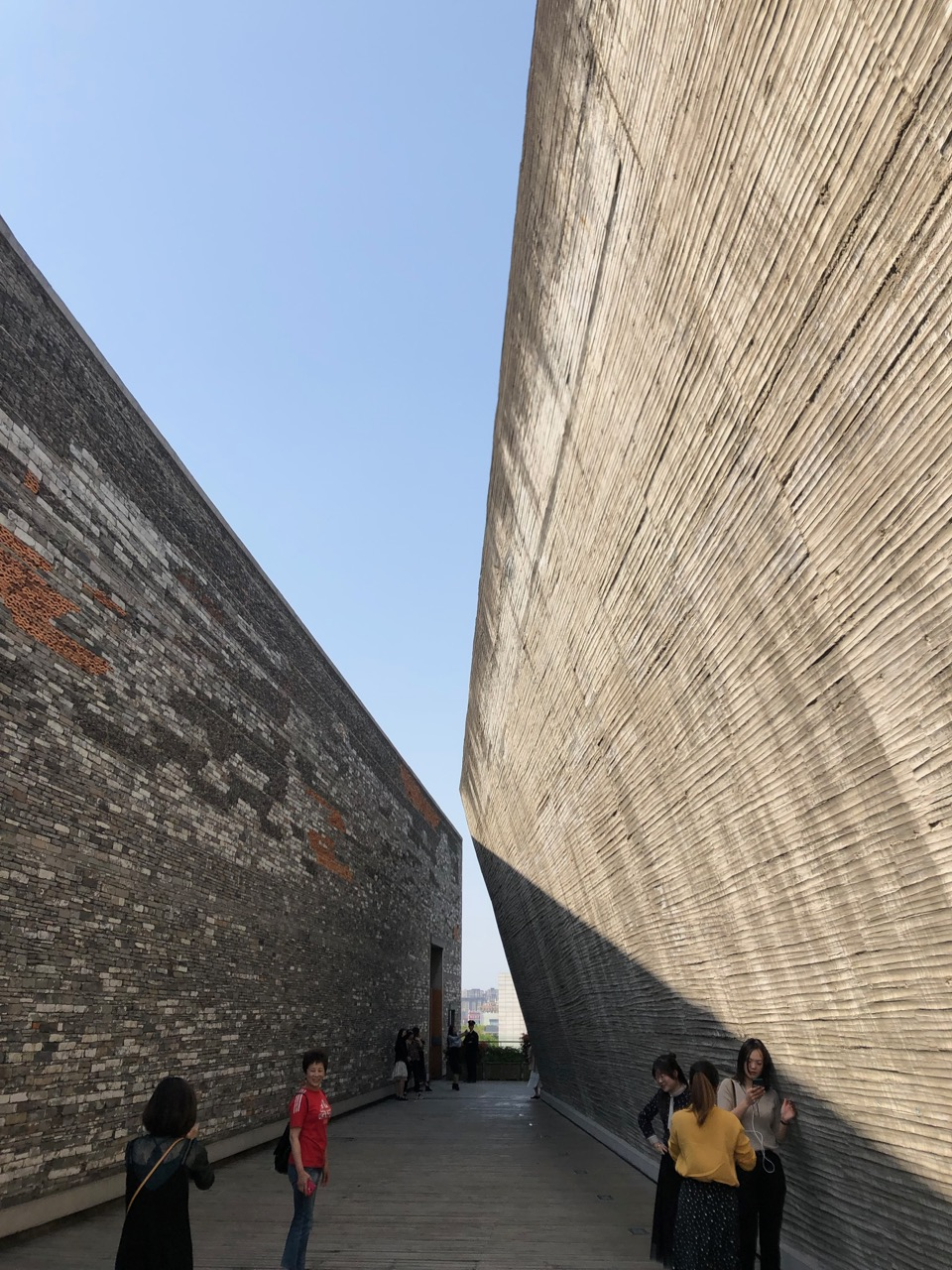 Tourists on the rooftop of the Ningbo Museum