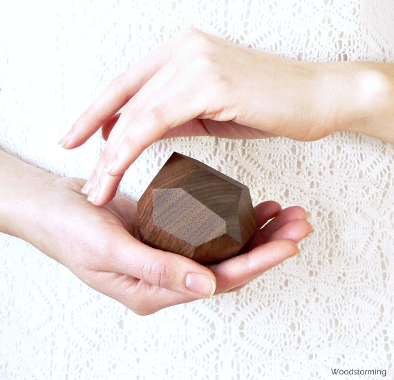 Faceted Wood Ring Box by Woodstorming