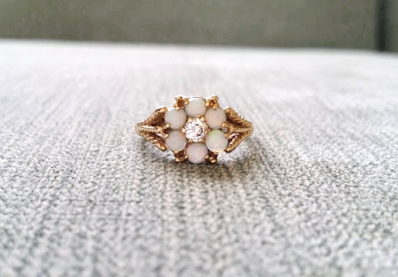 Opal White Sapphire Engagement Ring by PenelliBelle