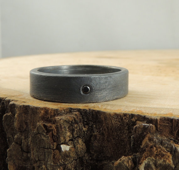 Black Diamond Men's Ring by PointNoPointStudio