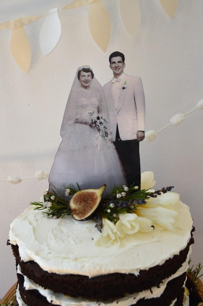Vintage photo cake topper