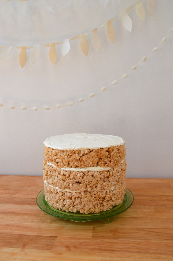 Assemble layers of rice krispie treats with frosting in between each.