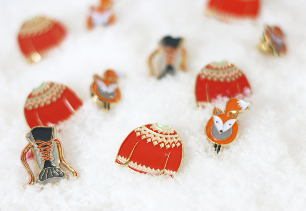 Winter Enamel Pins - Fox, Boot and Sweater by Senn & Sons