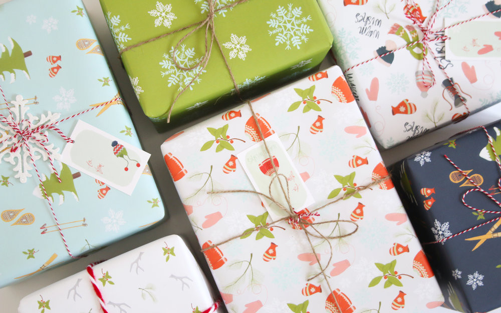 Illustrated holiday gift wrap by Senn & Sons
