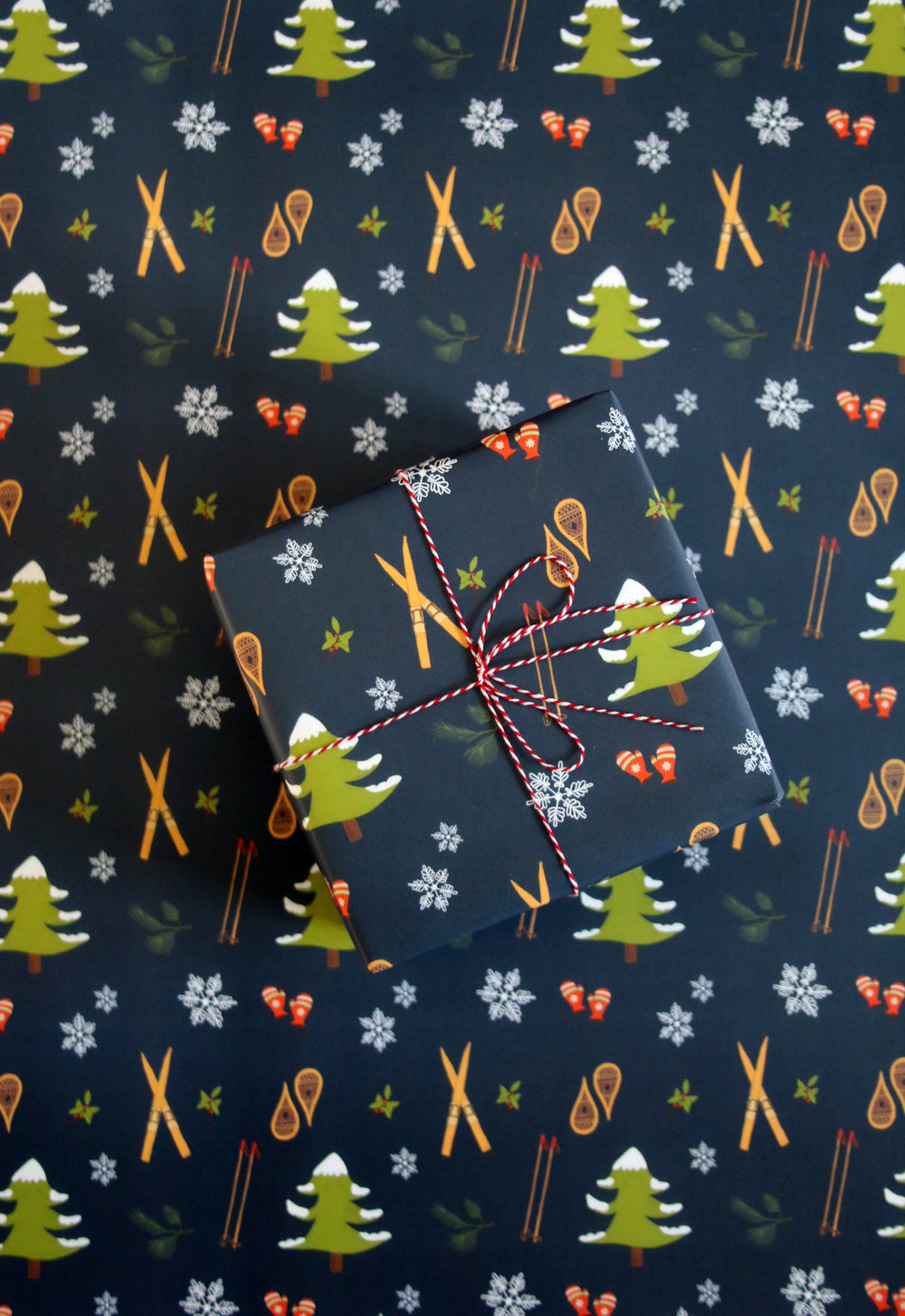 Navy Winter Sports Holiday Gift Wrap