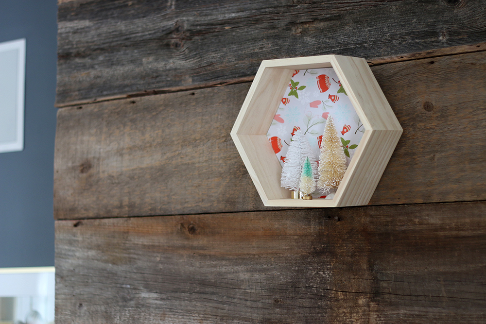 DIY shadowbox display using leftover gift wrap // Senn & Sons