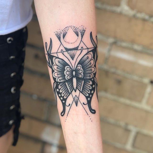 Butterfly today . . . #tattoo #tattoos #tattooart #tattooartist #tattooer #butterfly #butterflytattoo #blackwork #blackworkers #blackandgreytattoo #traditional #traditionaltattoo #girlswithtattoos #girlswithink #girlswithtats #forearmtattoo #boldwillhold #skinart #dotwork #dotworktattoo #indianatattoo #indiana #purdue #purdueuniversity #westlafayette