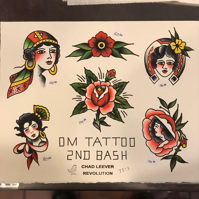 Sheet for the @omtattooftw 2nd Birthday Bash, happening all day, swing by . . . #tattoo #tattoos #tattooart #tattooer #tattooartist #traditional #traditionaltattoo #americanatattoos #skinart_traditional #boldwillhold #ftwayne #indiana #indianatattoo #tattooflash #watercolor
