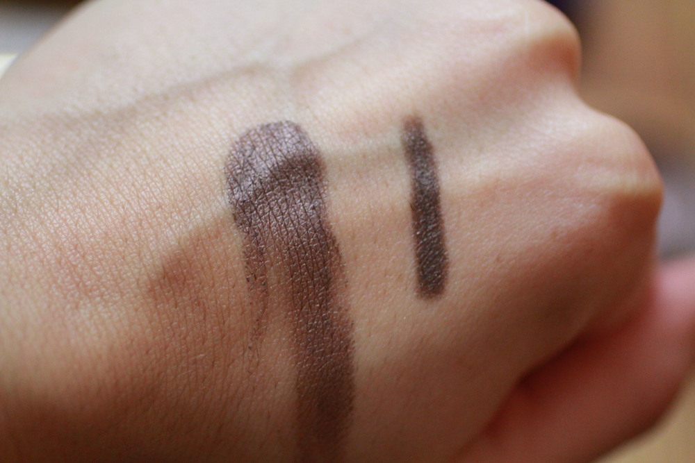 MAC Constructivist Paint Pot on left, By Terry Ombre Blackstar in Brown Perfection on the right