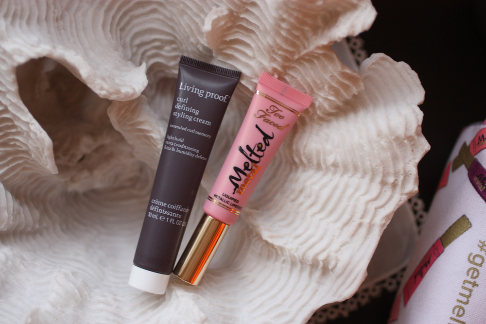 Living Proof Curl Defining Styling Cream and Too Faced Melted Metal lipstick in Peony