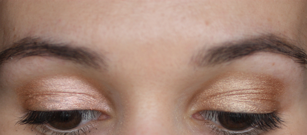 Nudestix Angel (left) and Gilt (right) swatched on eyelids