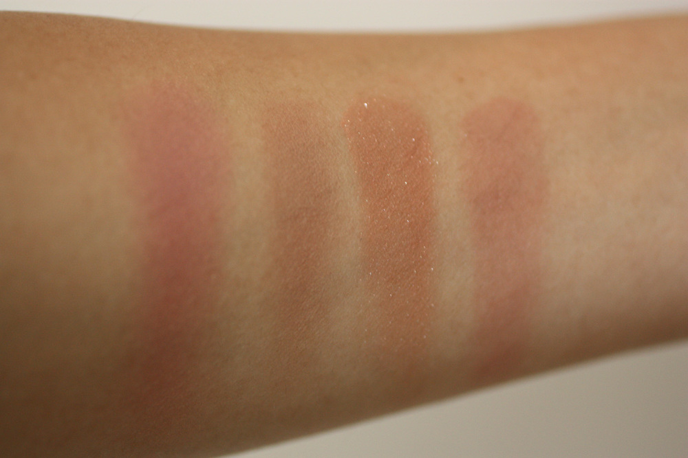 From left to right: Too Faced Baby Love, Burberry Earthy, NARS Madly, Tarte Exposed