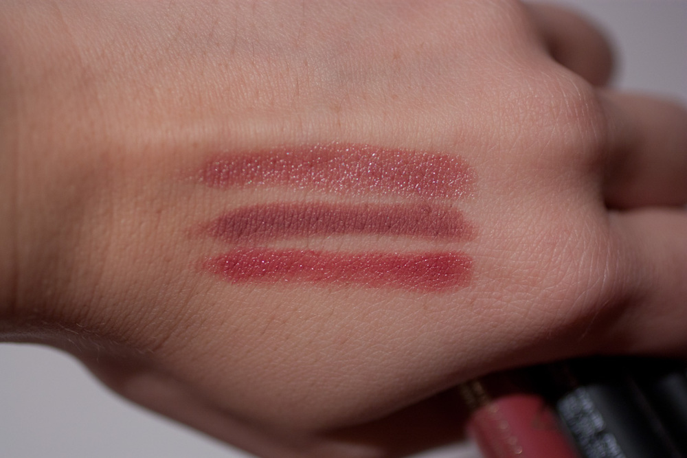 From top to bottom:  NARS Rikugien   NARS Bahama   L'Oreal Lacque-y Charm