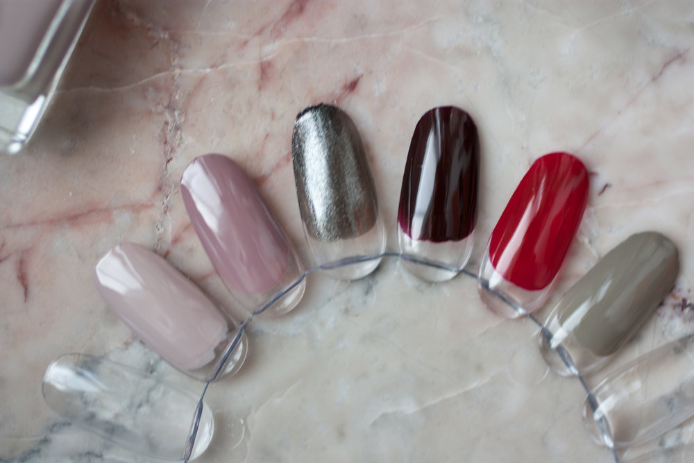 from left to right: Nails INC Porchester Square // Essie Take Me To Thread // Essie Tribal Text-styles // Essie Wicked // Essie Beauty Marked // Louboutin Alta Perla
