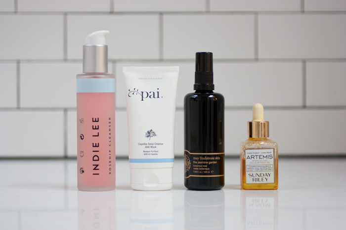 LEFT TO RIGHT: Indie Lee Rosehip Cleanser, PAI Copaiba Deep Cleanse AHA Mask, May Lindstrom Skin The Jasmine Garden Botanical Mist, Sunday Riley Artemis Face Oil
