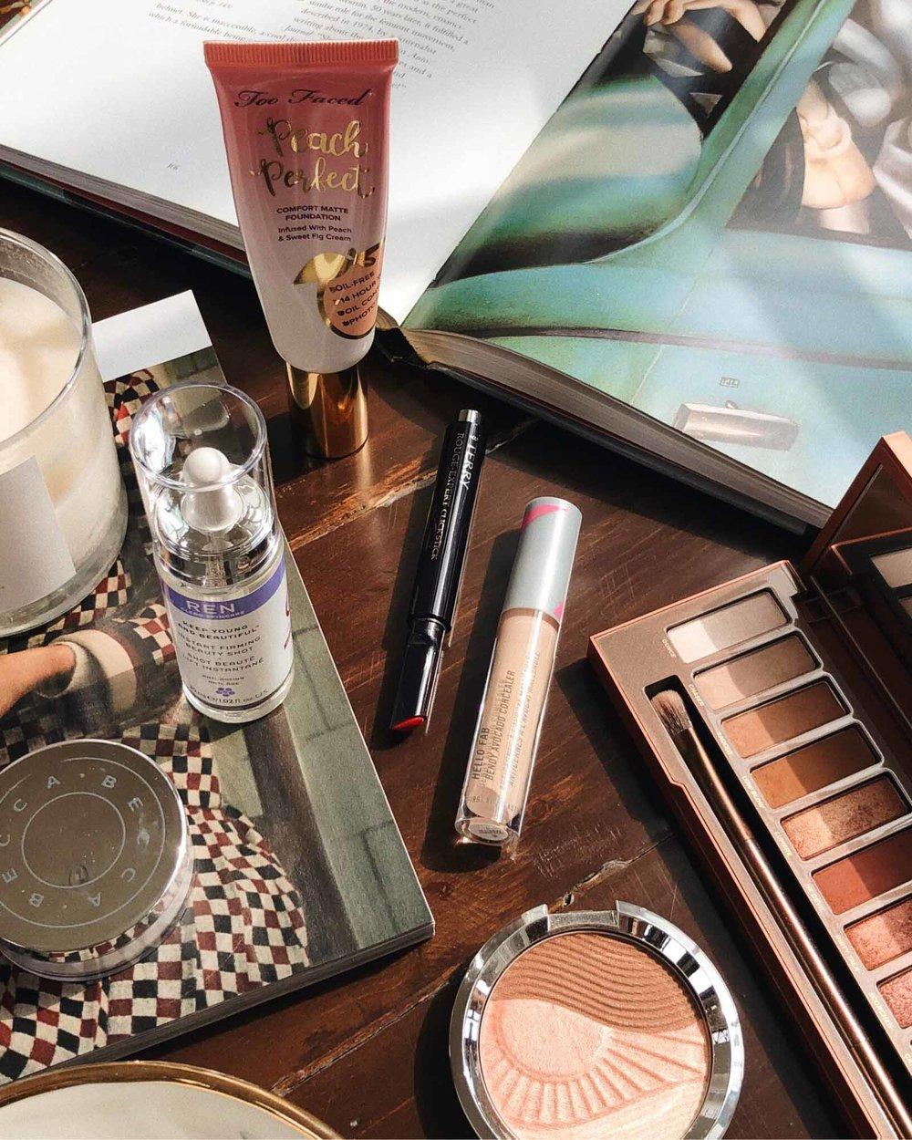 fall makeup flatlay