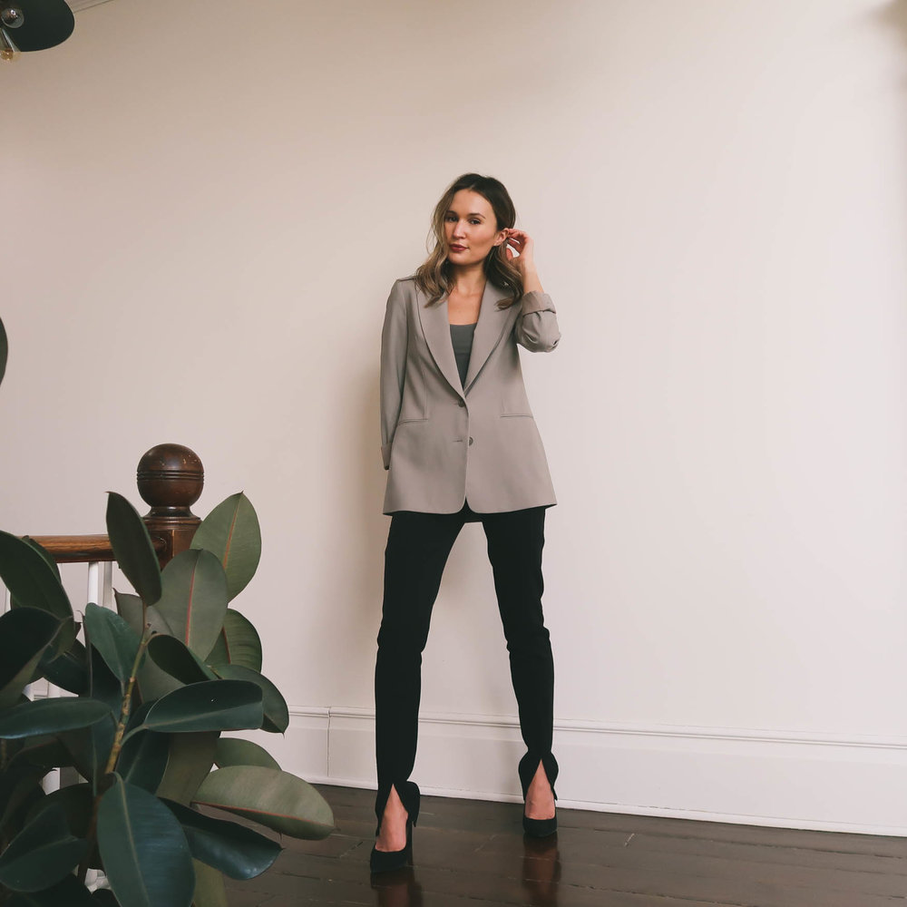 how to style taupe blazer