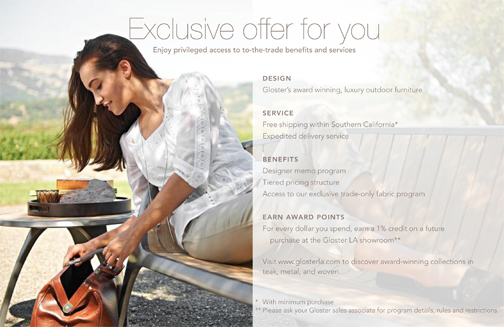 Program details for a loyalty club; direct mail piece written and designed for a U.K.-based brand of outdoor furniture.
