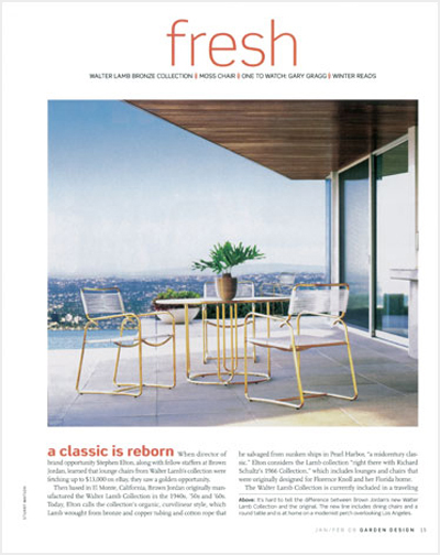 Publicity in a national garden and shelter magazine announcing the relaunch of an iconic product.