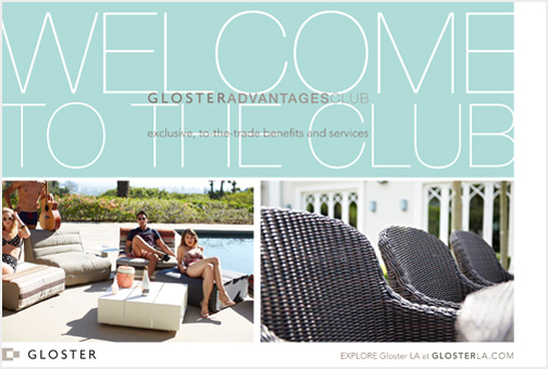 Direct mail piece announcing a loyalty club to interior designers and architects in Southern California.