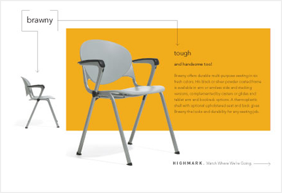 One in a series of direct mail pieces re-introducing and re-positioning the product line of a mid-sized contract chair manufacturer.
