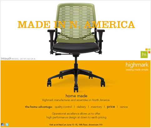 One in a series of trade ads re-positioning a mid-sized contract chair manufacturer.