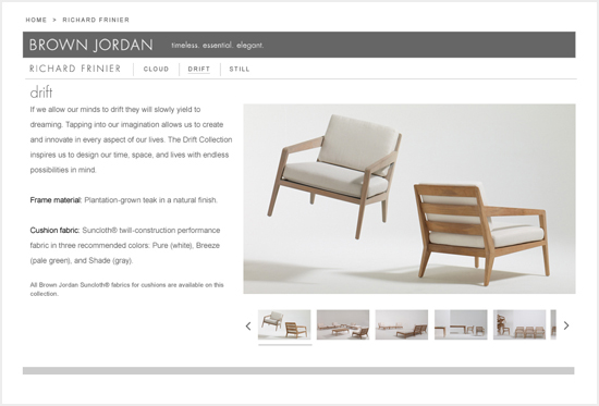 Website design to support the launch of a co-brand project in the outdoor furniture industry; project included video, pr, and a launch event at Maison et Objet in Paris.