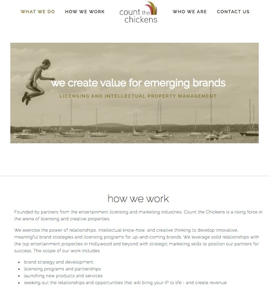 website design for a start-up company working in licensing and intellectual property