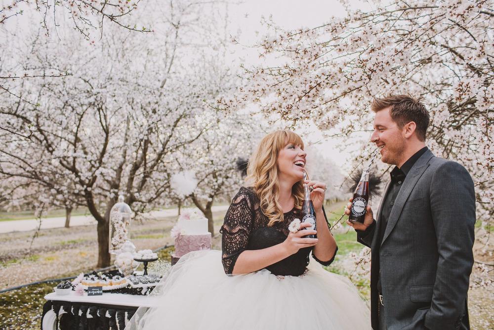 almond orchard wedding photo