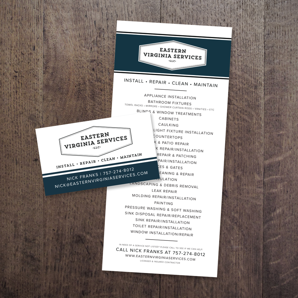 Logo, business card and rack card design