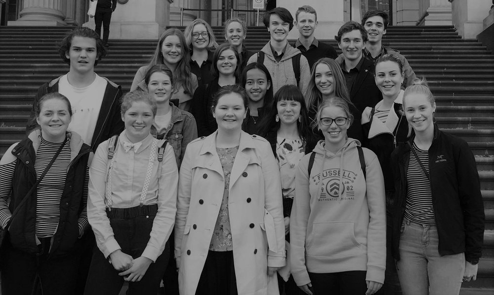 The 2018 Victorian Rural Youth Ambassadors at State Parliament. KIRSTY HEINTZE (pictured, front row, bottom right). BREANNA JOHNSON (pictured second row, second from right).