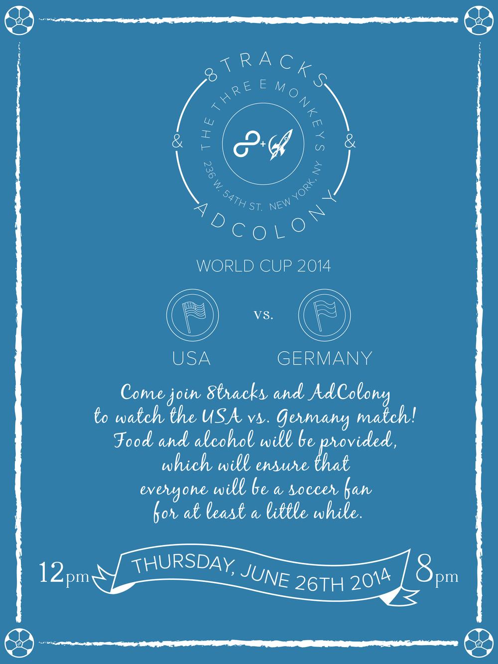 8tracks x Adcolony World Cup brand/identity, visual design, printdesign