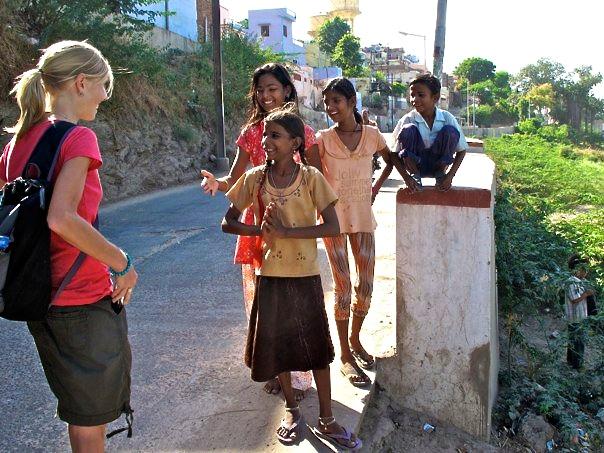 Children in the village greeting me