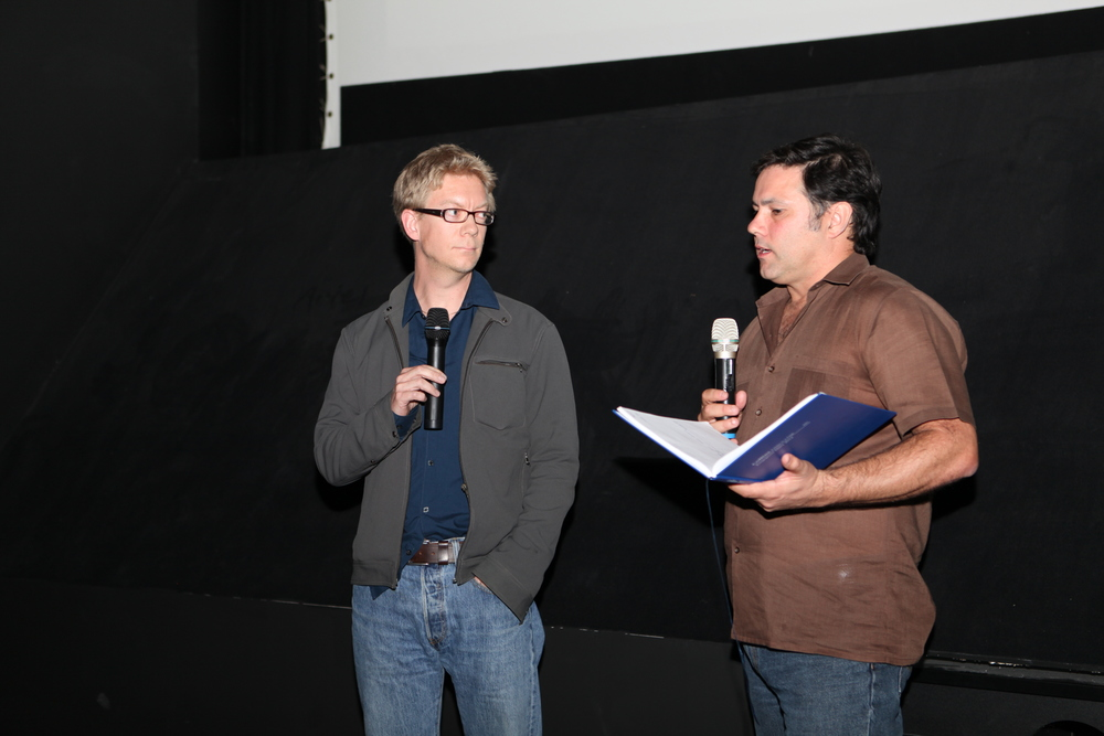 James Naylor writer/director of A DARK MATTER (left) and Simon Foster from Screen Space (right) during a Q&A at Fantastic Planet Film Festival 2013.