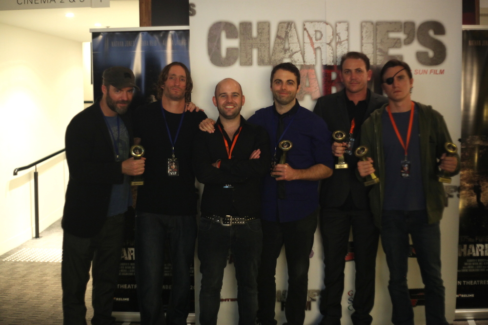 Just some of the fests' award winners (left to right): Kevin and Michael McCarthy (FURY: THE TALES OF RONAN PIERCE), Harley Neville and Guy Pigden (I SURVIVED A ZOMBIE HOLOCAUST), Chris Sun (CHARLIE'S FARM), and Jason Trost (HOW TO SAVE US).