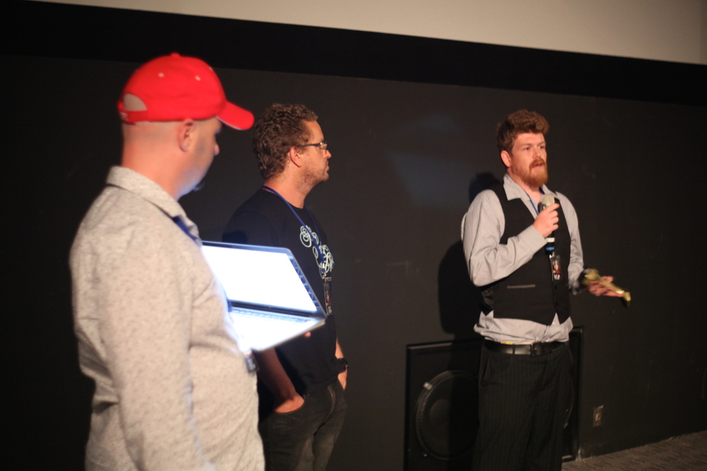 (Right) Benjamin Morton director of SCHOOLIES MASSACRE - Audience Choice BEST AUSTRALIAN SHORT FILM at A Night of Horror Film Festival.