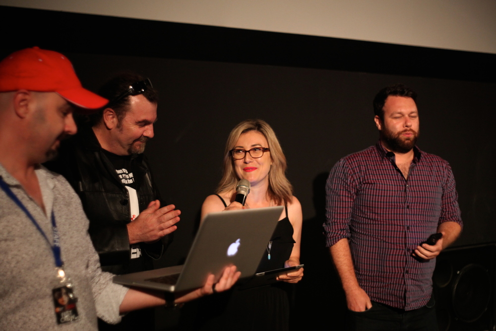 (Left to Right) Festival Director Dean Bertram, and A Night of Horror screenplay judges, Anthony Egan, Raquelle David, and Christopher Moriarty.)