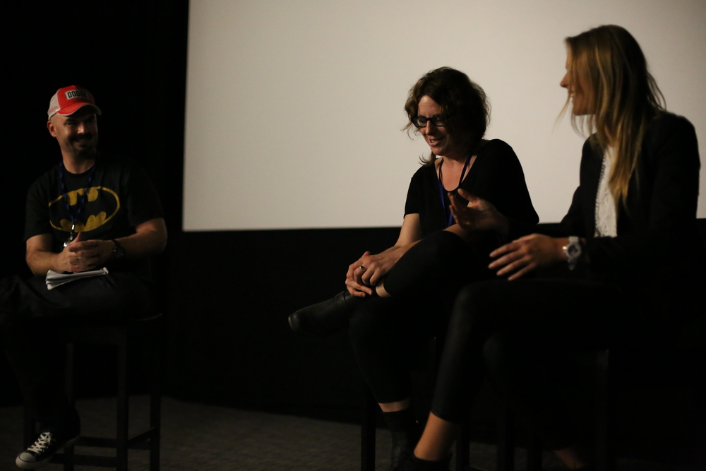Festival director Dean Bertram (left), with Ursula Dabrowsky (centre) and Sarah Jeavons (right) enjoying the Q&A that followed the world premiere of INNER DEMON.