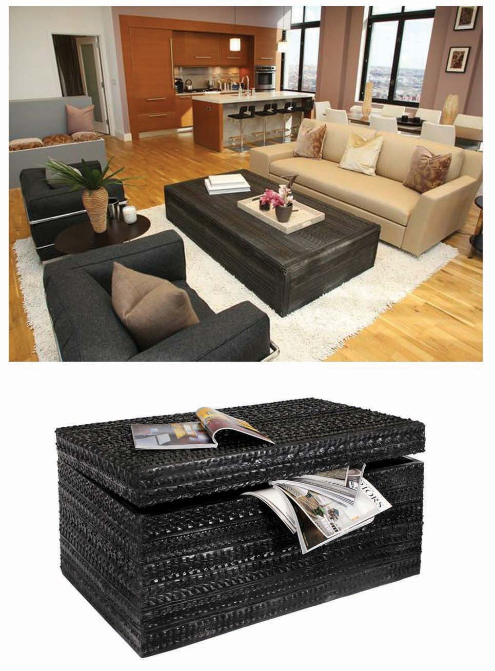 "ND Tip:  Since this unique piece is manufactured overseas and will be near impossible to find here in the US, think of ways you can recreate this style with your own resources! RECYCLED TYRE TRUNK $385 Incredibly versatile this is more than just a storage box it's an original and decorative piece of furniture. Each trunk is hand made using individual strips of recycled tyre tread that creates an incredibly decorative surface design. Offering style and functionality when used as a coffee or side table and providing practical storage to hide away all sorts of household clutter. Each trunk is creatively hand made and the tread patterns can vary making each piece truly unique. Decorative patterns created by the tyre tread have the dark lustre of leather and the carved detail of wood with the durability of rubber. Due to the nature of this product all patterns and sizes may vary slightly. W40"" x D22"" x H20"""