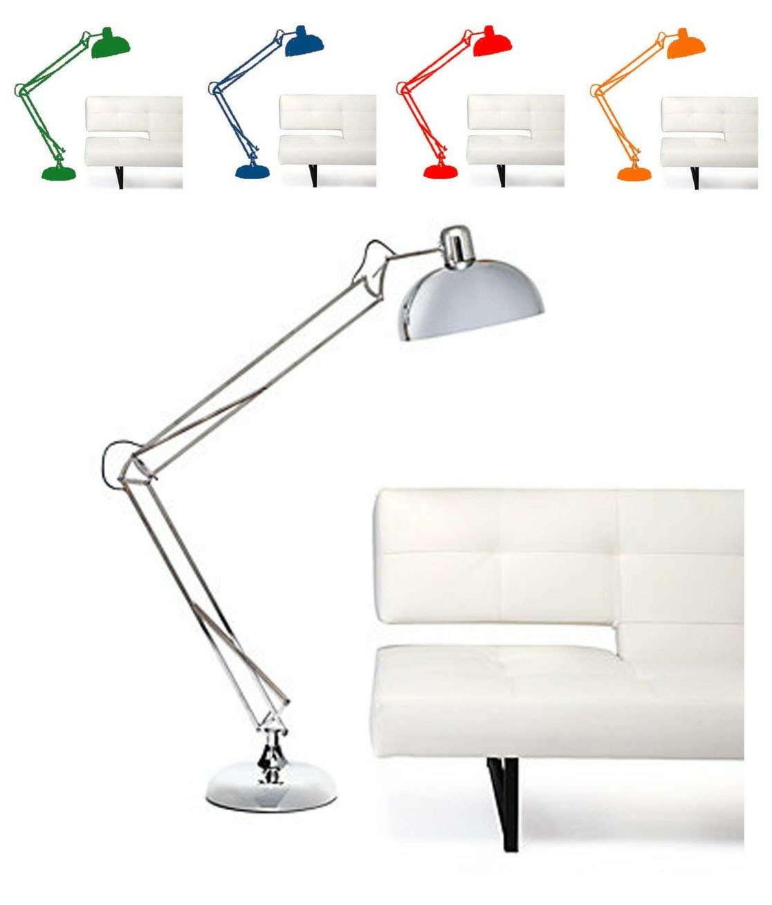 "ND Tip:  Pick a color…any color! Realize the floor lamp's potential. Try seeking out a local auto body repair shop and find out if they can do a paint job for you!      SPRING FLOOR LAMP    $199      The classic desk lamp silhouette has evolved to make an appearance as our full-fledged Spring floor lamp. In shiny Silver chrome, the tight spring mechanism allows the lamp to assume innumerable positions for desired use. The dome shade holds up to a 75 watt bulb, and comes with a three-way CFL bulb. The lamp stands 75"" tall with a 14"" diameter shade and a sturdy 13"" diameter stand."