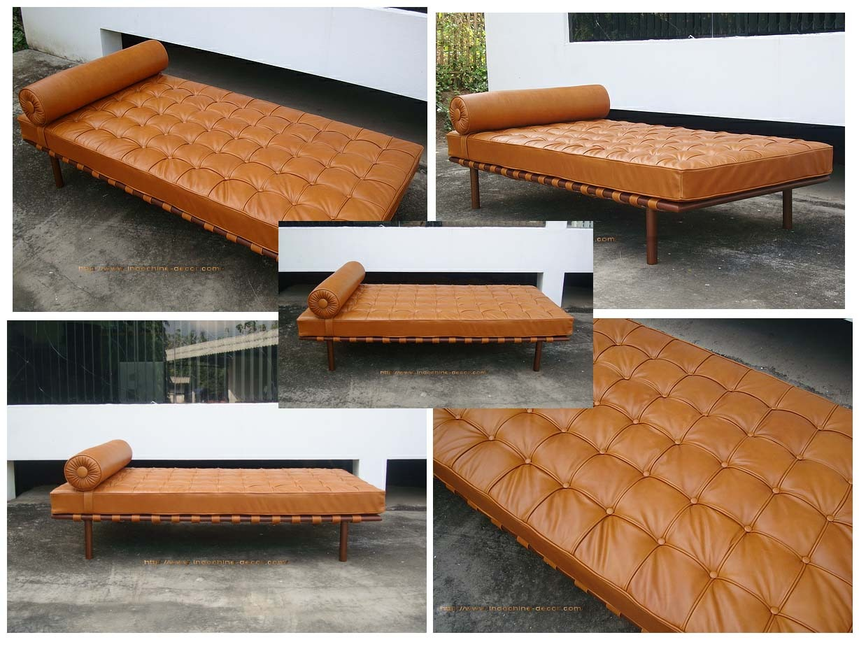 "ND Tip:  This classic has outlasted its' brother the (in)famous Barcelona Chair and its' cousin the Barcelona bench. The trick is the tan leather which   completely   transforms the daybed.          BARCELONA DAYBED       $1455              The cushion is suspended upon a network of leather saddle straps fixed to a solid hardwood frame to provide you with incredible comfort and support. A removable bolster pillow stretches across the width of the daybed and is secured in place by straps. Polished stainless steel legs add to the beauty of this modern classic design.   A high quality reproduction. The Italian leather is hand selected, piped, tufted and individually sewn by expert leather craftsmen. The leather offers a more supple feel over many of the other modern classics furniture in the market.      77""W x 38""D x 16""H"