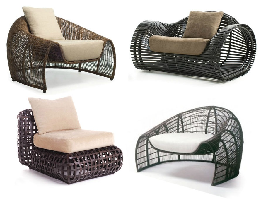 "ND Tip:  Can be used indoors, this conver$ation piece doesn't have to break the bank. Stick to one armchair and forgo the entire matching set.      KENNETH COBONPUE    Price Upon Request     This chic garden furniture set is constructed with powder coated aluminum frames and fully-resistant cushion fabric. Every piece may be separately purchased. Also available in white, black and silver.    No sales tax      (only Florida residents must pay sales tax)   12 week shipping   Made of dryfast cushion, stainless steel, Sunbrella patio upholstery   Approximate Dimensions 35"" x 55"" 48"""