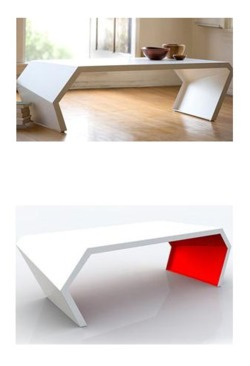 "ND Tip:  Follow the white rabbit…to the future of coffee table designs. Created from a single sheet of steel, comes in several color combinations and is manufactured in Los Angeles.      PAC Table    $850      Defined shapes. clean lines. simple geometry. the PAC table quietly inspires a room with its dynamic sense of style. the PAC's unique, angular form is precisely created from a single sheet of steel.     Arktura is a los angeles based design and manufacturing company, born out of the minds of architects. the focus of our company stems from our belief that great design cannot be created without a close integration with the process of manufacture. thus we focus closely on the integration of design, with the development of new and novel manufacturing technologies. this way design and manufacture take on a new synergies, setting our designers free to explore new forms and use materials unseen in the industry. we are focused on cultivating the talent of both emerging and established designers trained in a diverse array of fields; from architecture to automotive design, to deliver extraordinary pieces that set new standards for creativity and innovation.     material(s):  sheet steel    dimensions:  coffee table: 51"" x 20"" x 14.5"" side table: 26"" x 20"" x 20"" console table: 50""L x 15""W x 32""H"