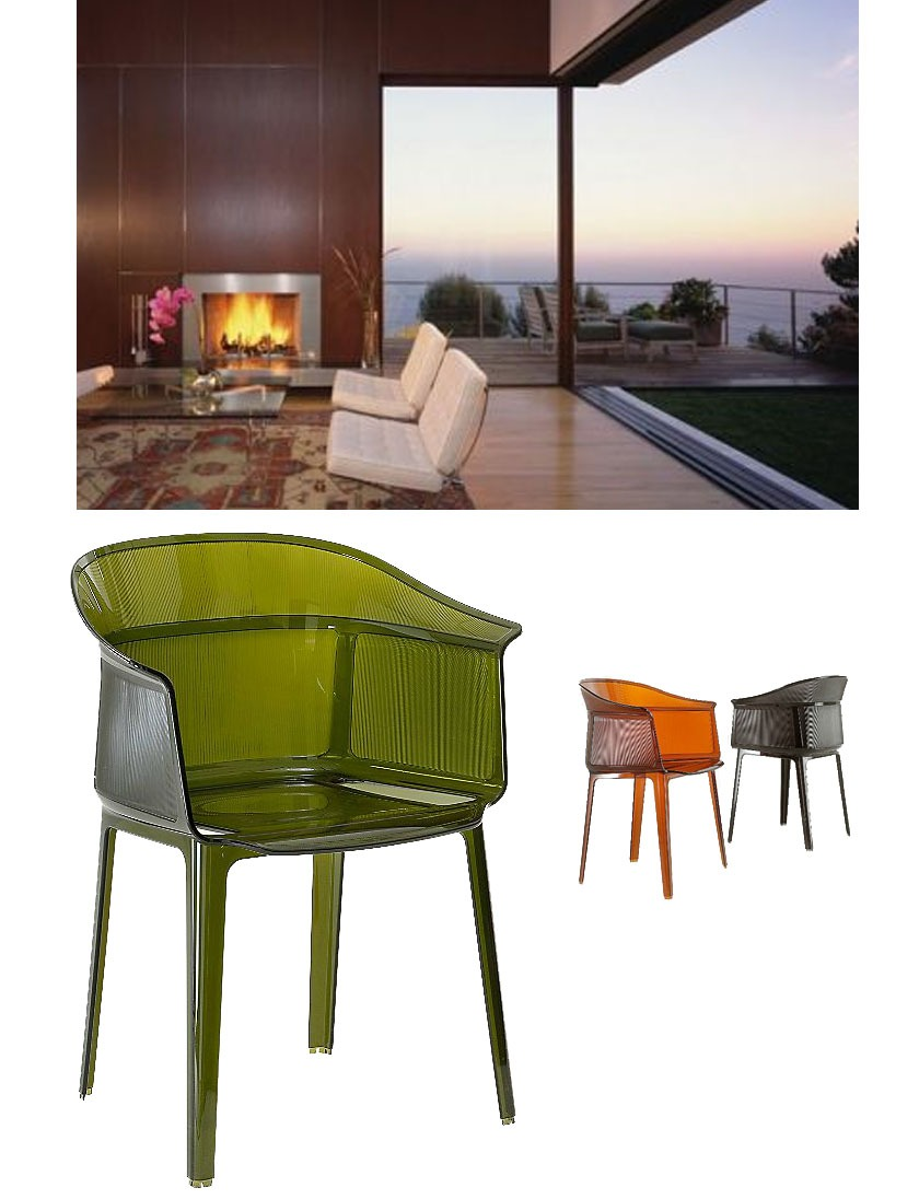 "ND Tip:   Double the size of your home with this great piece to help bring an indoor feel to your outdoor space.      Payrus Chair    $370      The Kartell Papyrus Chair designed by the Bouroullec brothers, is an admirable marriage of simplicity and refinement, grace and memory. Papyrus is a remake of the archetypical antique rush chair, from a time when chair structures were decisive and strong.    Details - Dimensions    The Kartell Papyrus Chair designed by the Bouroullec brothers, is an admirable marriage of simplicity and refinement, grace and memory. Papyrus is a remake of the archetypical antique rush chair, from a time when chair structures were decisive and strong…. read more below    The chair combines a translucent support with a slender vertical pebbling, running along the entire outside of the rounded backrest, with its soft and snug lines. the seat is comfortable and welcoming, and the entire structure is light. Papyrus' wide range of brand-new ""old-fashioned"" colors makes the play of the worked surfaces even more evident and attractive. Perfect for public and residential establishments. The Papyrus Chair features transparent or batch-dyed polycarbonate, is suitable for outdoor use, and is stackable up to 4 high.  Kartell, headquartered in Italy, creates superb products through its commitment to project, design, and technological innovation.  The Kartell Papyrus Chair is available with the following:   Included Features:      Transparent or smooth batch-dyed polycarbonate frame.   Suitable for outdoor use.   Stackable up to 4 high.   Designed by Ronan and Erwan Bouroullec.      Options:       Color:  Crystal, Olive Green (shown), Rust, Smoke Brown, or Smoke Grey.     Dimensions:   Chair : Width 23.62 In., Height 31.2 In., Depth 19.29 In.  Seat : Height 17.75 In."