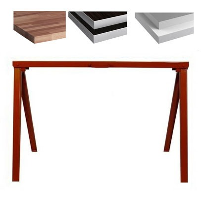 "ND Tip:   Customize your furniture piece with various tops and this incredibly affordable table leg.      Fulton Steel Sawhorse    $40     Steel sawhorse. 14-gauge steel with high-quality powder coating. Legs fold up inside for easy storage. (2"" x 4"" x 38"" folded) 25"" H. x 38"" L. open. Built in handle for easy carrying. 2 saw horses can support 2000 lb."