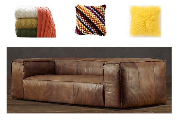 "ND Tip:   Add texture and color through decorative pillows and cable throws. At a heafty price, the sofa will stand the test of time.      Fulham Leather Sofa    $2970-$5655      Tailored with reverse seaming that exposes its raw edges, our supple leather sofa displays the casual, well-worn hand of a vintage flight jacket. Its oversized profile, foursquare lines and deeply padded arms and back offer seating with exceptional comfort and relaxed style.     Upholstered in Matador leather, with a soft, matte finish, reverse seaming and topstitching detail   Oversized for sink-in comfort          DIMENSIONS    Available Widths: 96"", 111"", 120""   Available Depths: Classic 41"", Luxe 47""   Height: 30""   Clearance needed for delivery: 30"""