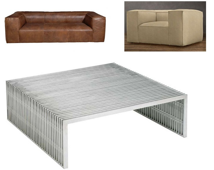 "ND Tip:  Juxtapose the hard yet airy table, with soft, substantial pieces that have similar modern lines.      Novel Coffee Table    $1245    Stainless steel slat construction makes this thoroughly modern design a contemporary classic. Sturdy square coffee table design is a perfect fit for a seating or living room. Add pizzazz to your decor with this great piece from the Zuo Modern collection.      100% stainless steel construction.   39"" wide.   38"" deep.   16"" high."