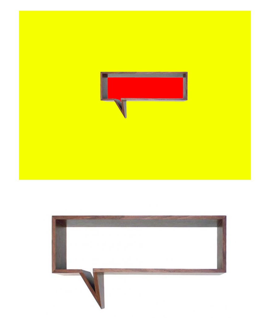 "*ND Tip:   Try painting the wall with bold colors to create a real conversation piece out of this speech bubble shelf. COMIC SHELF $249  Beautifully crafted in walnut veneer and MDF, the Comic Shelf adds a sophisticated playfulness to any space. Create a real life comic strip in your home! •  MDF frame with walnut veneer •  Acrylic top coat •  Dimensions: 40.9"" x 9.8"" x 22.8"" •  Oscar Nunez, furniture designer based in Cancun Mexico"