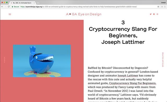 Thanks to @aigaeyeondesign for featuring our Cryptocurrency Slang For Beginners on this week's Design Diary. https://eyeondesign.aiga.org #bitcoin #Crypto #design #whale